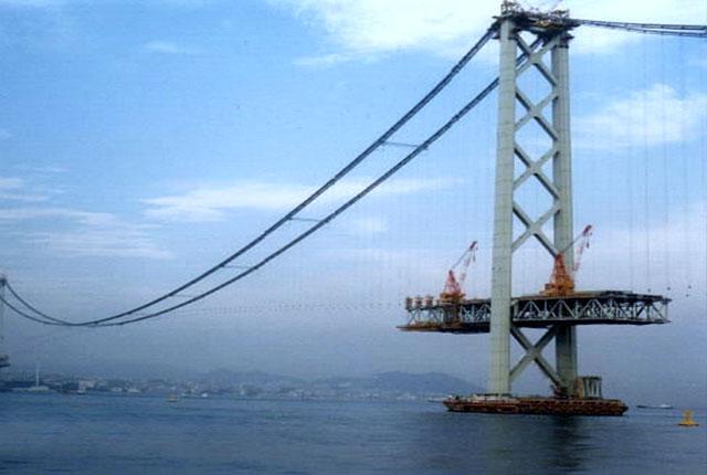 明石海峡大橋の架設工事